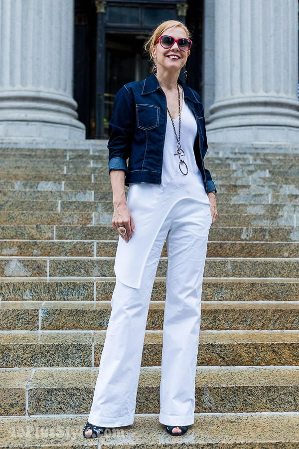 side white pants with jacket and asymmetrical top | 40plusstyle.com