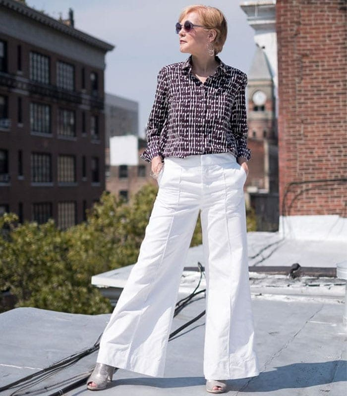 Wide Legged Pants With A Print Blouse | 40plusstyle.com