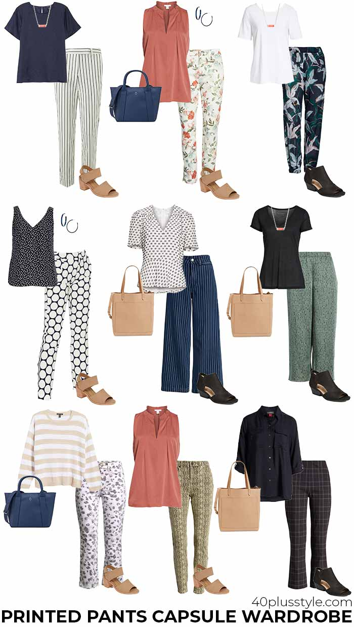 patterned pants capsule wardrobe | 40plusstyle.com