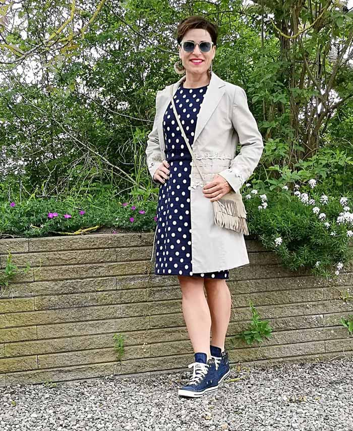 Polka dot dress and sneakers | 40plusstyle.com