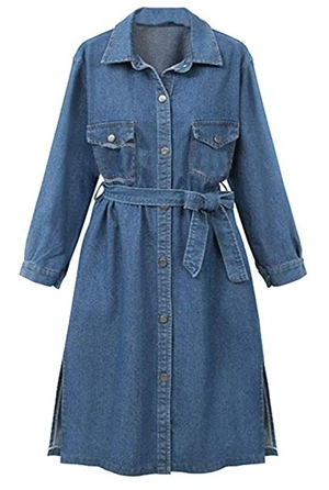 long trench denim jacket | 40plusstyle.com