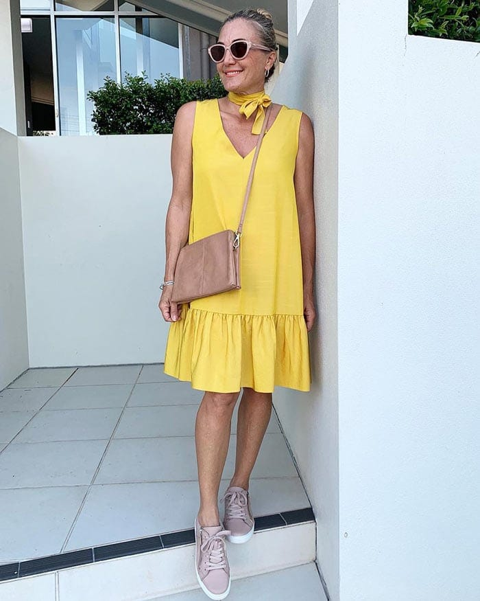 Yellow dress and sneakers | 40plusstyle.com