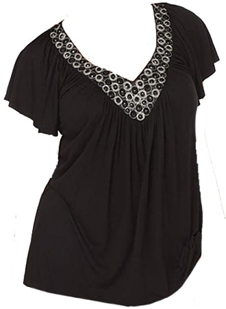 Embellished top to hide your belly | 40plusstyle.com