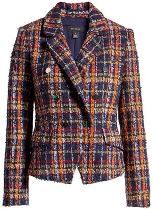 Halogen plaid tweed jacket | 40plusstyle.com