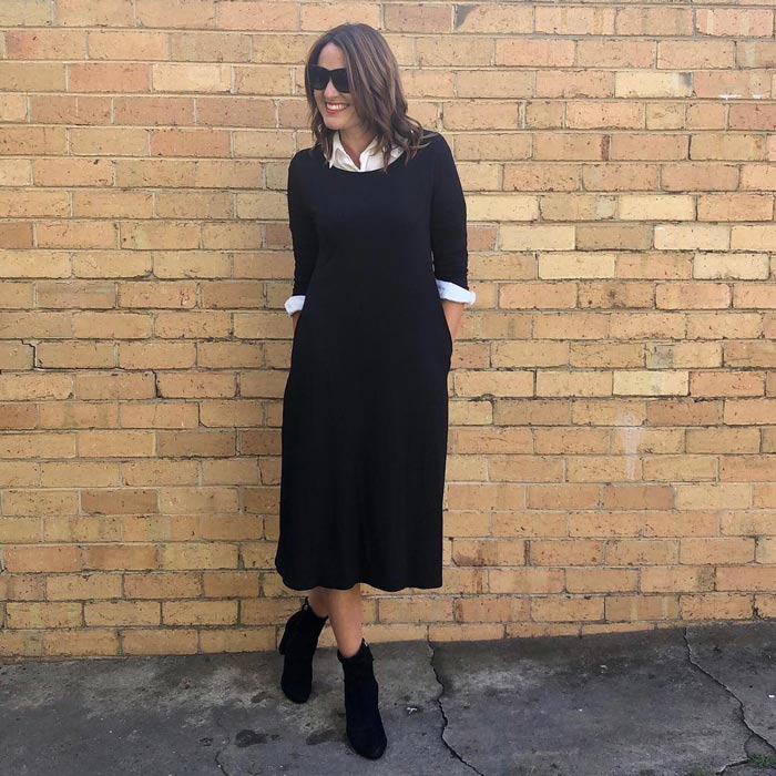 Karen wearing a classic monochrome outfit | 40plusstyle.com