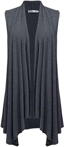 Meaneor asymmetrical sleeveless cardigan | 40plusstyle.com