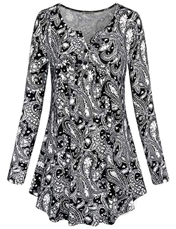 Women's Paisley Printed Long Sleeve Shirt | 40plusstyle.com