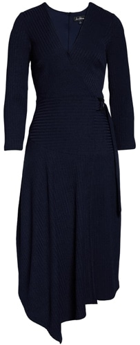 Sam Edelman asymmetrical wrap dress | 40plusstyle.com
