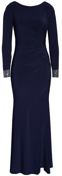 Vince Camuto long sleeve gown | 40plusstyle.com
