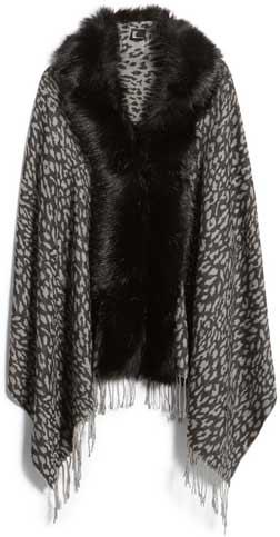 shrugs and boleros for evening dresses: Love Token faux fur trim knit wrap | 40plusstyle.com