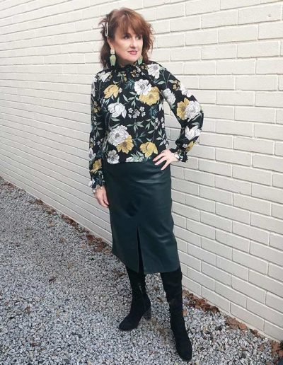 Leather skirt outfit ideas: How to wear a leather skirt for women over 40 | 40plusstyle.com