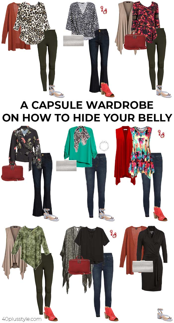 A capsule wardrobe on how to hide your belly | 40plusstyle.com