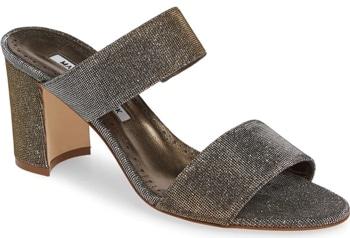 Manolo Blahnik 'Kalita' metallic slide sandal | 40plusstyle.com