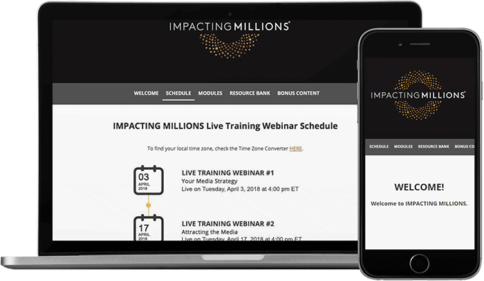 Mockup of laptop and mobile device with screenshots of Impacting Millions schedule page