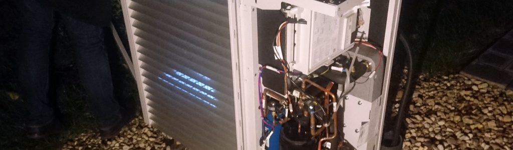 Schallleistungsmessung an einer Wärmepumpe, Akustikbüro Dahms