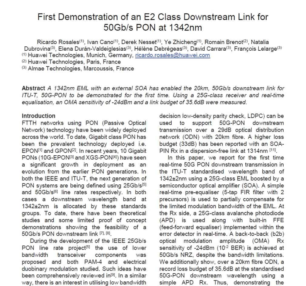 First Demonstration of an E2 Class Downstream Link for 50Gb/s PON at 1342nm