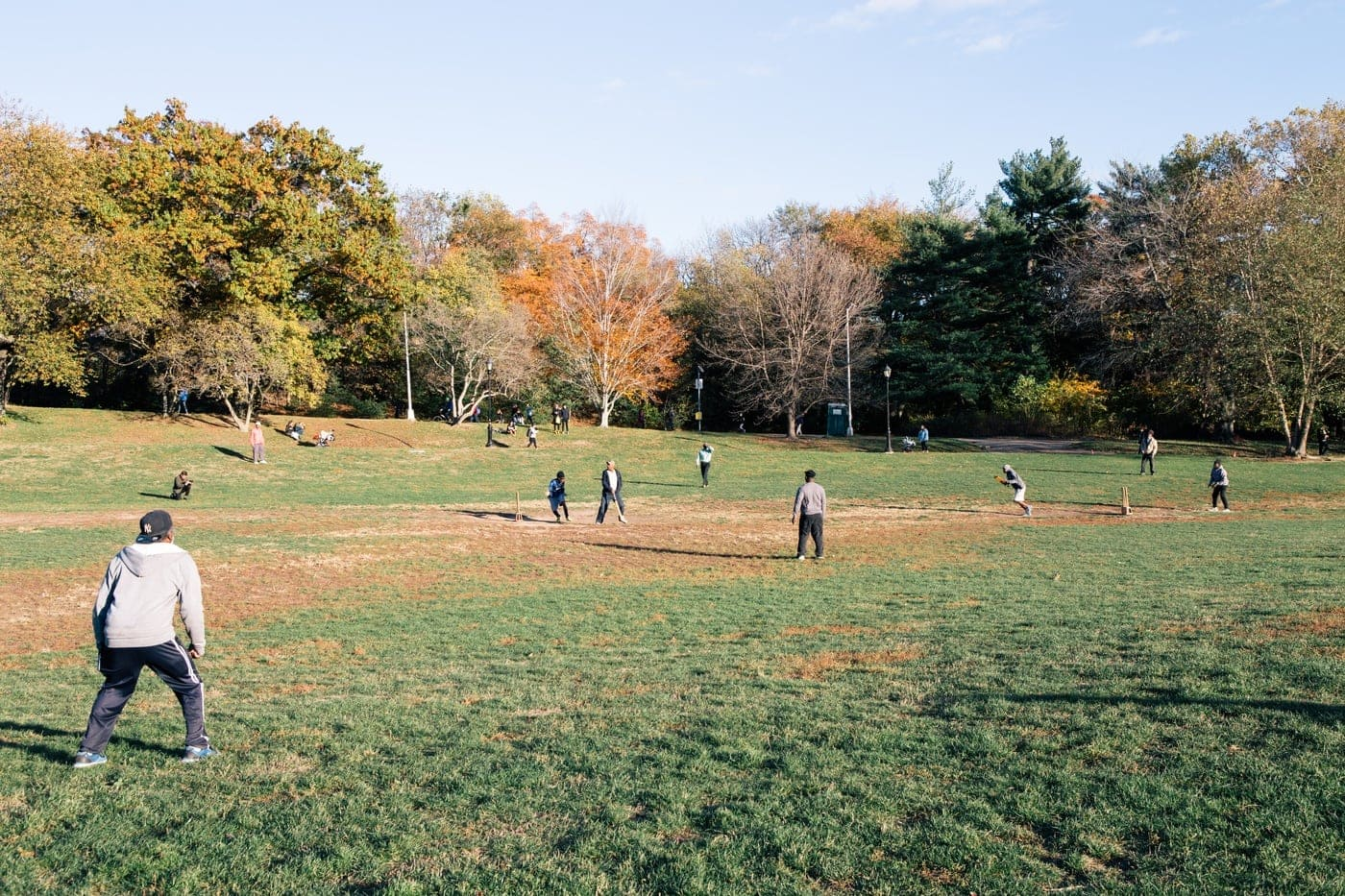 Playing cricket in Prospect park New York City