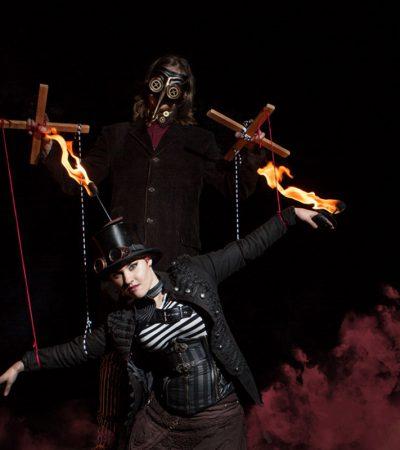 Duo Feuershow auf dem Schlossberg Freibrug von LuxArt - Performancekunst & Feuertanz aus Ludwigsburg, zwischen Stuttgart und Heilbronn