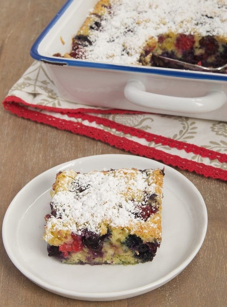 Berry Pudding Cake is a quick and simple cake that makes delicious use of fresh summer berries. - Bake or Break