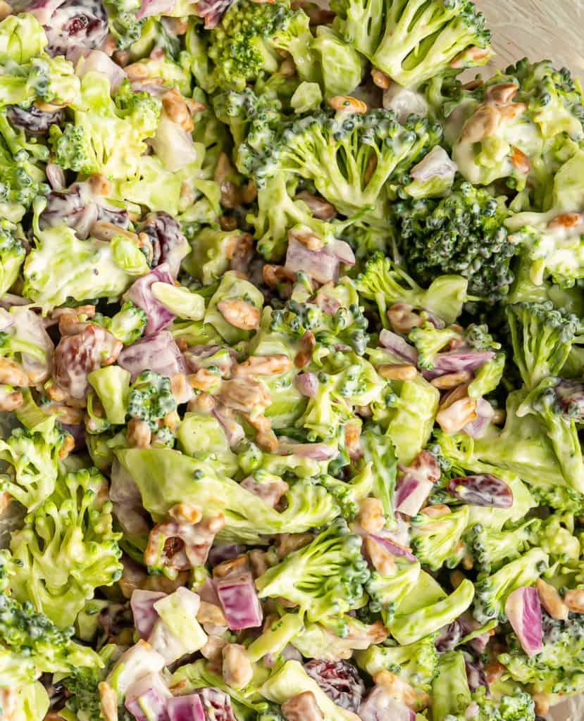 detail up close of copycat Whole Food Broccoli Crunch Salad