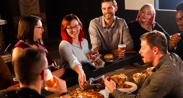 Eating at an Axe Throwing Party