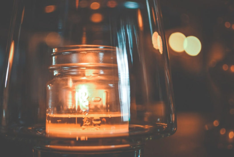 candle in globe
