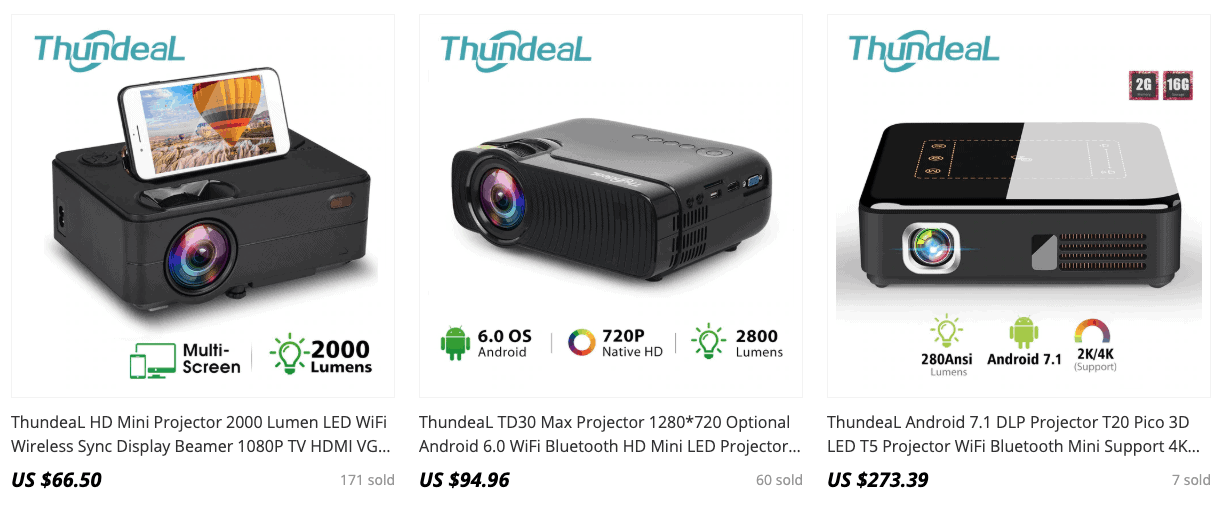 thunderdeal projector aliexpress