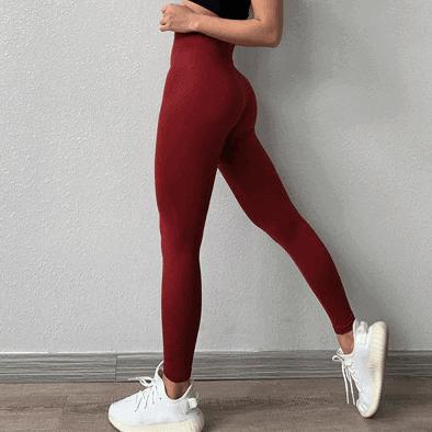 red yoga pants