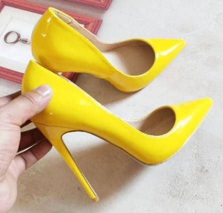 yellow pumps for black dress