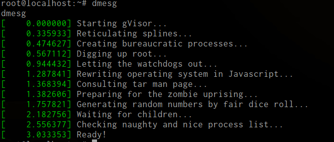 gvisor messages in the container.