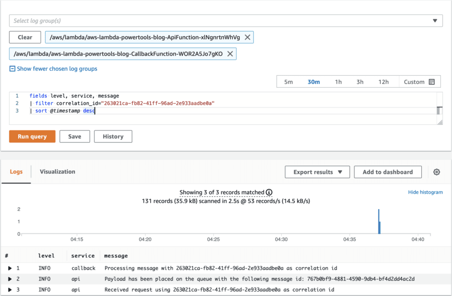 Sample query of AWS CloudWatch Logs Insights