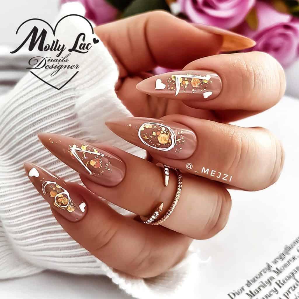 brązowy manicure kombinowany