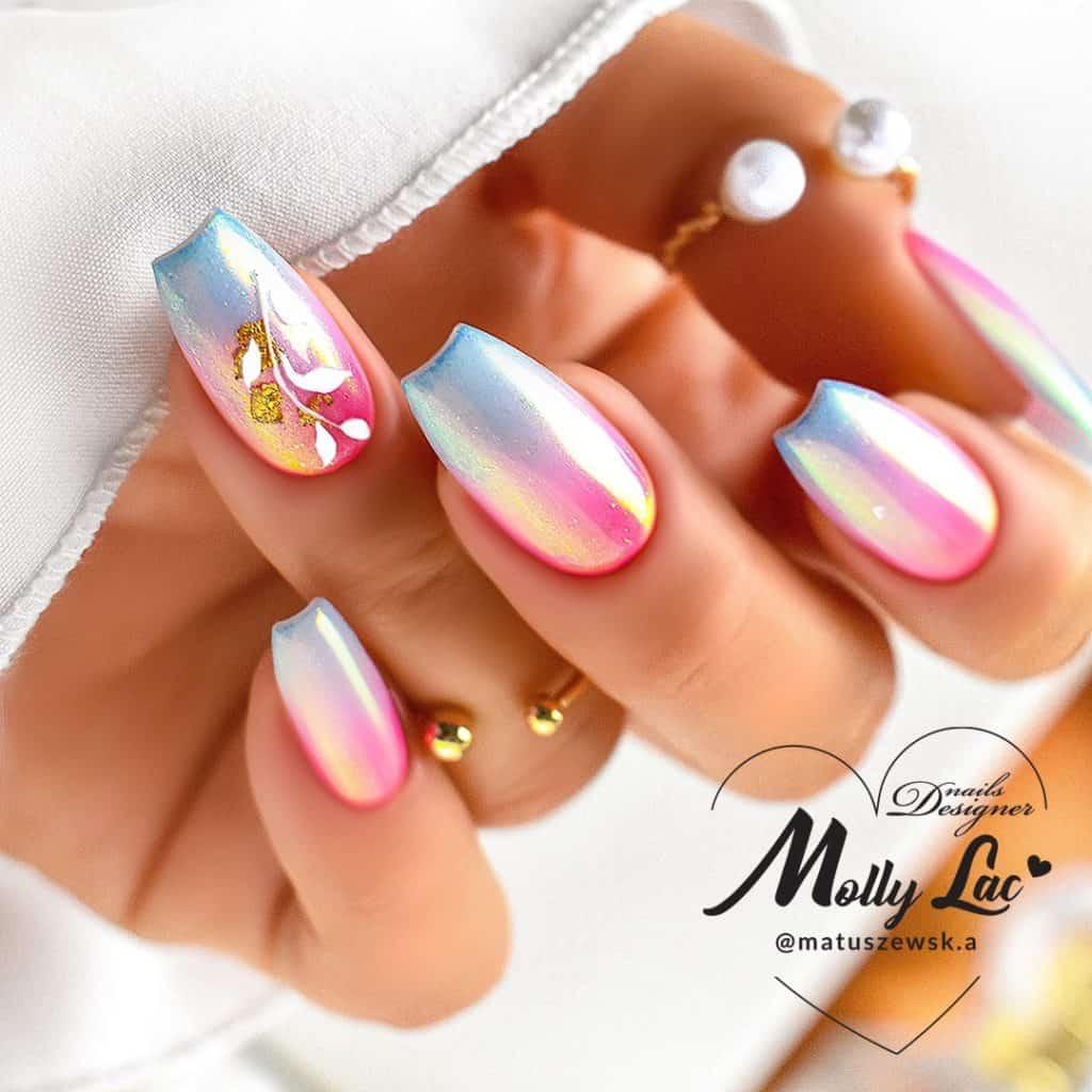 tęczowy manicure kombinowany