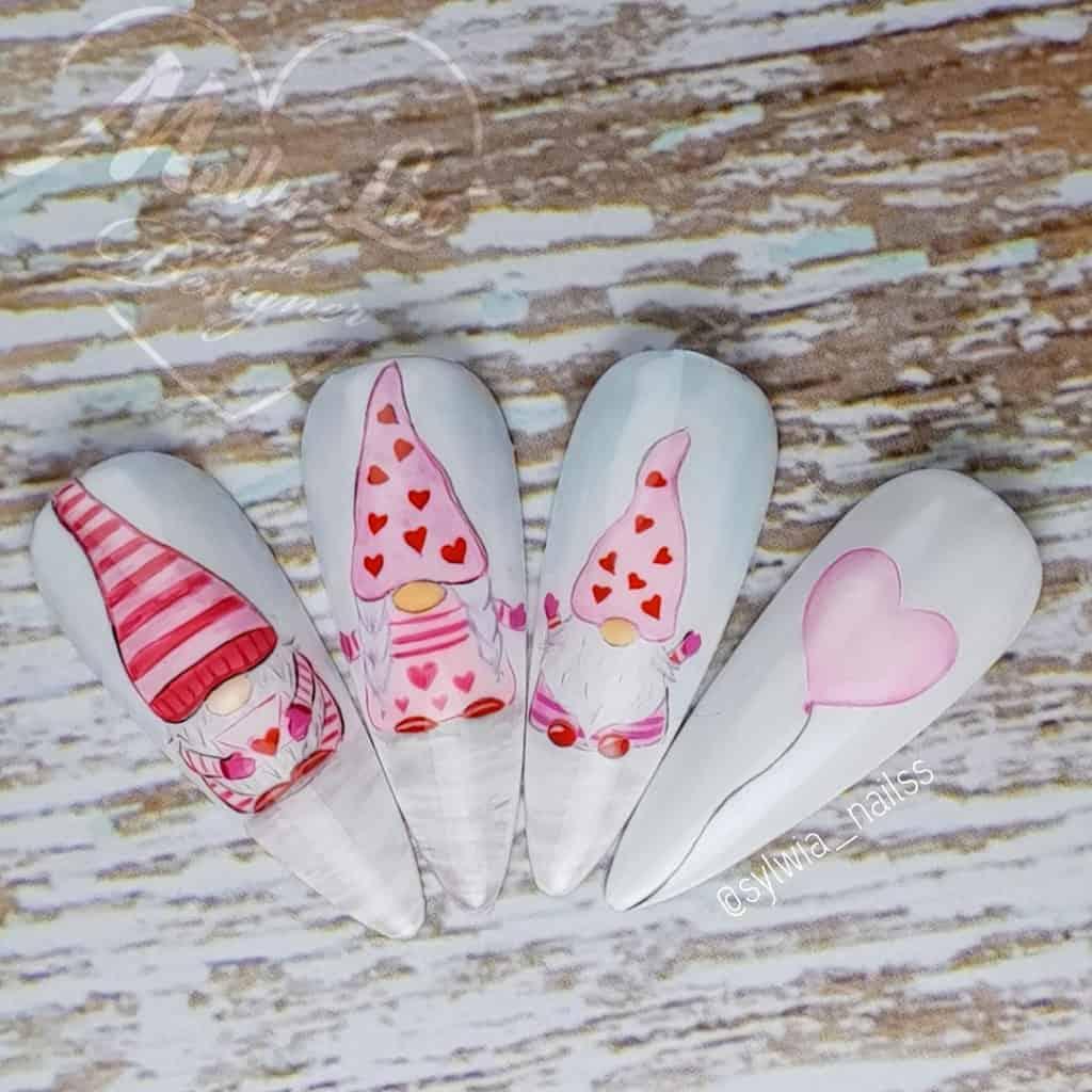 białe paznokcie na walentynki
