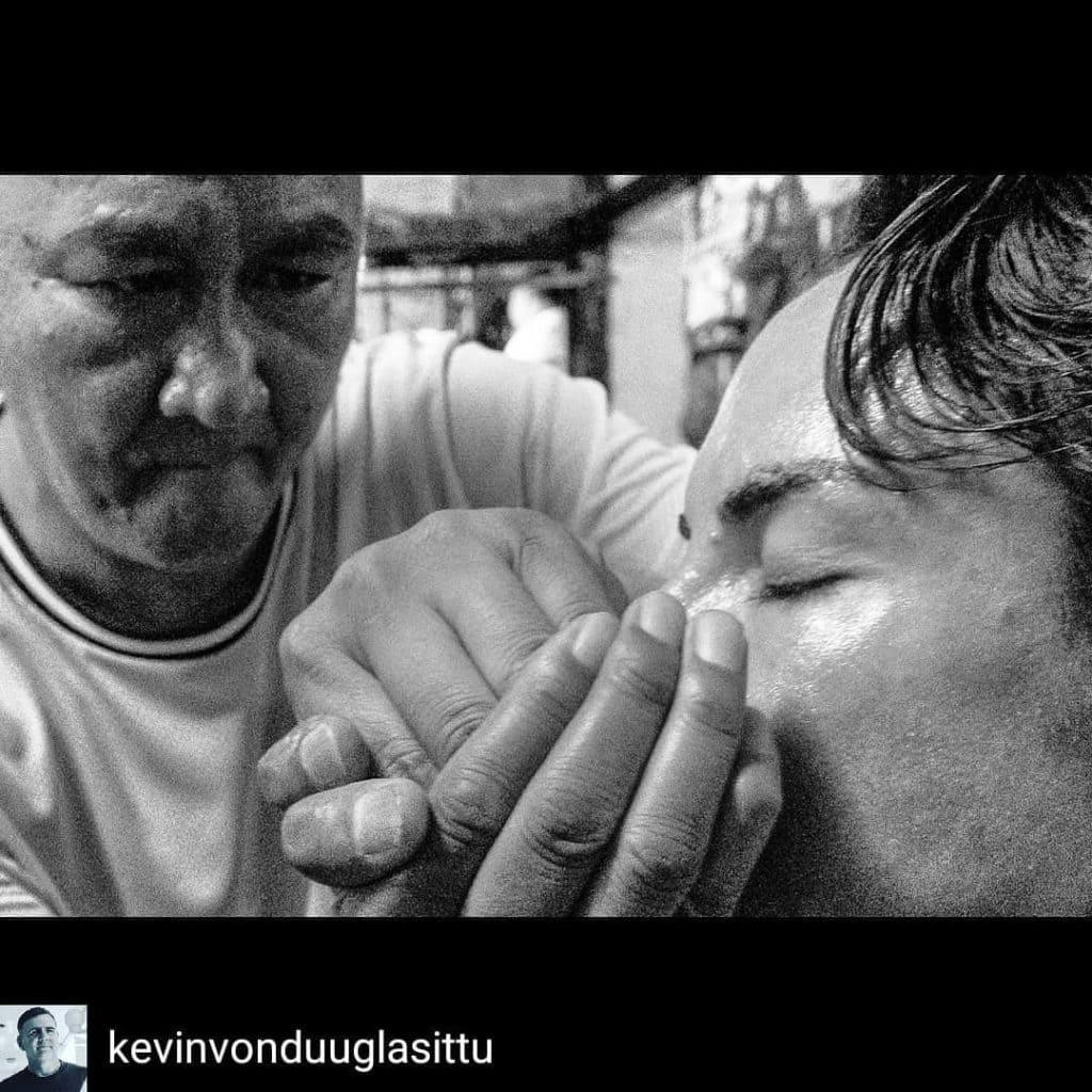 Muay Thai Living Legend Diesel Noi helping Sylvie