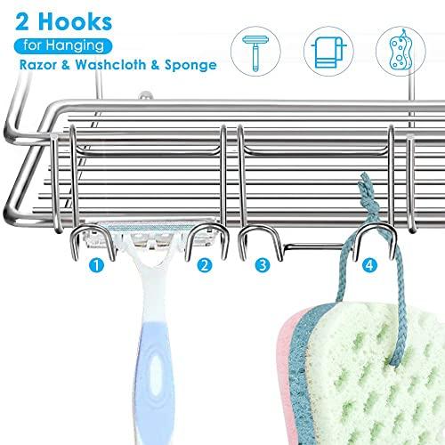Nieifi Badezimmer-Regal mit Kleber ohne Bohren Edelstahl Wandmontage für Waschküche, Toilette, Dusche, Küche, 2 Stück - 4
