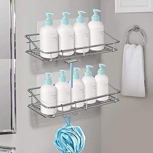 Nieifi Badezimmer-Regal mit Kleber ohne Bohren Edelstahl Wandmontage für Waschküche, Toilette, Dusche, Küche, 2 Stück - 3