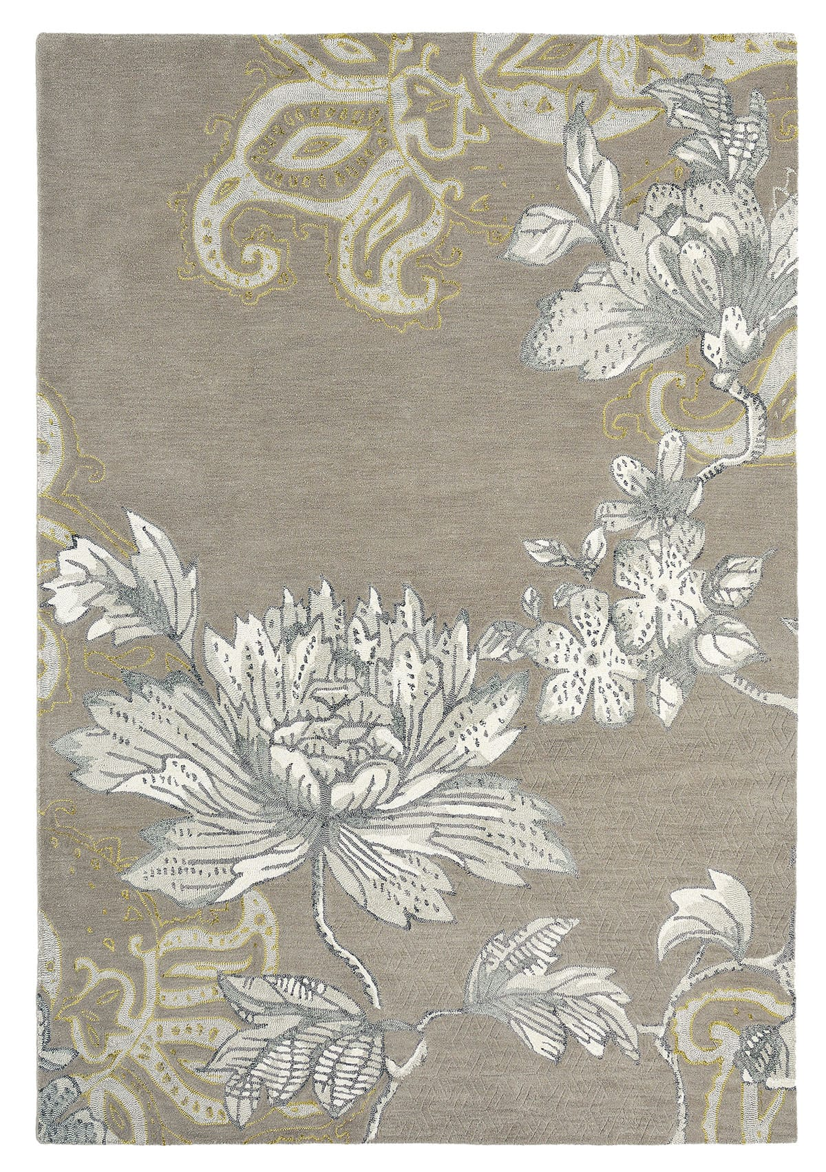 beżowy dywan w kwiaty Fabled Floral Grey 37504