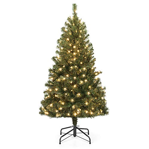 Pre-Lit Spruce Hinged Christmas Trees with Foldable Stand