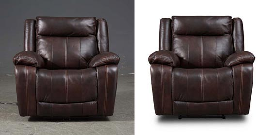 Clipping Path zone created Shadow and reflection for brown leather sofa