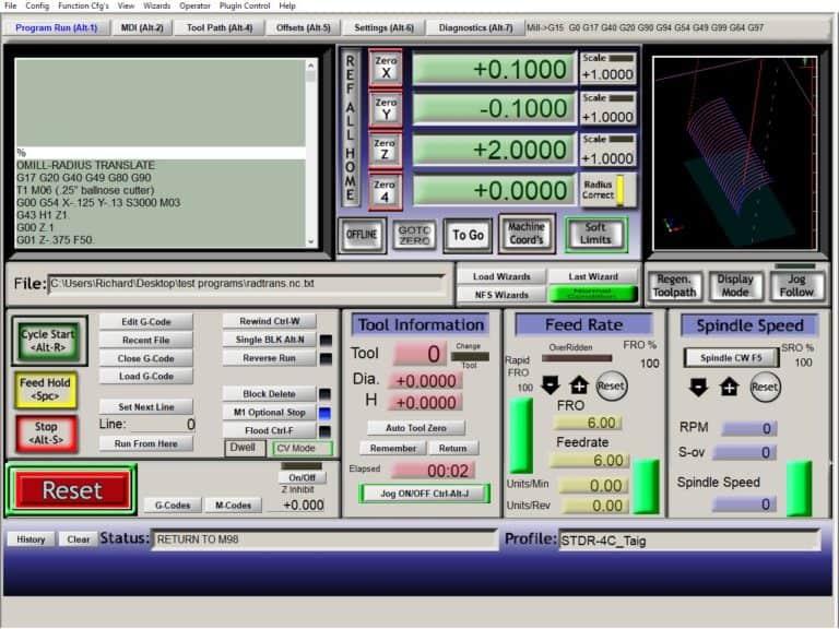 mach3 program run screen
