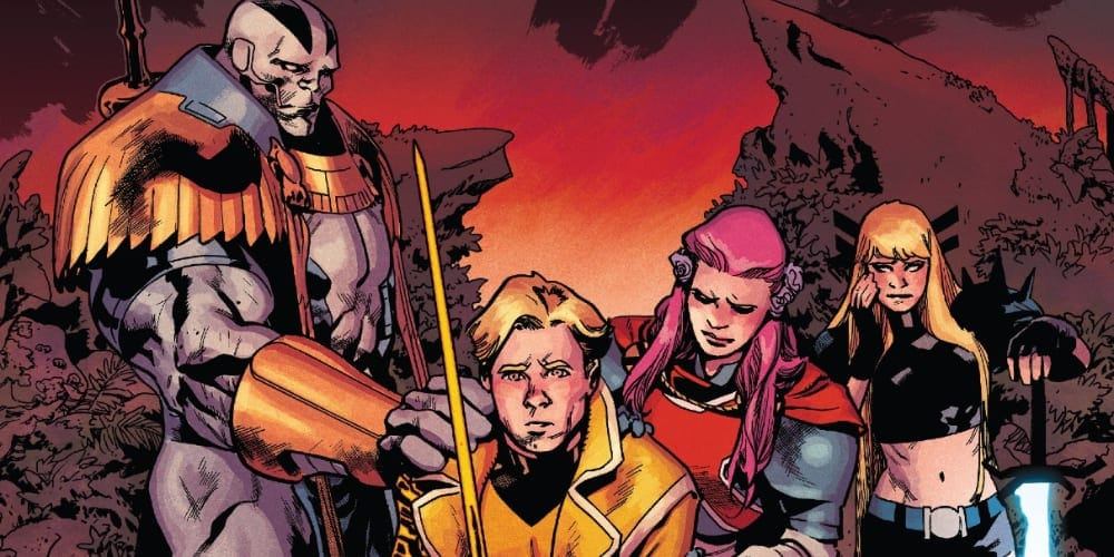 Excalibur #14: X of Swords Chapter Fifteen, X-Men, Apocalypse, Saturnyne, Captain Avalon, Captain Britain, Bei the Blood Moon, Cypher Doug Ramsey, Arakko, Krakoa, Betsy Braddock, Jamie Braddock