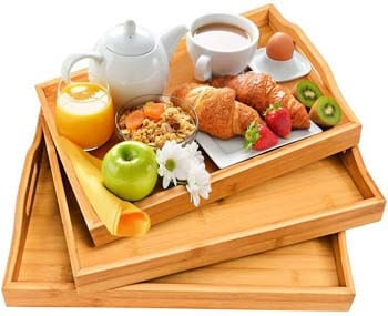 9. Serving Tray with Handles - Wood Bamboo Trays