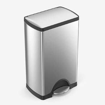 8. simplehuman 38 Liter / 10 Gallon Rectangular Kitchen Step Trash Can