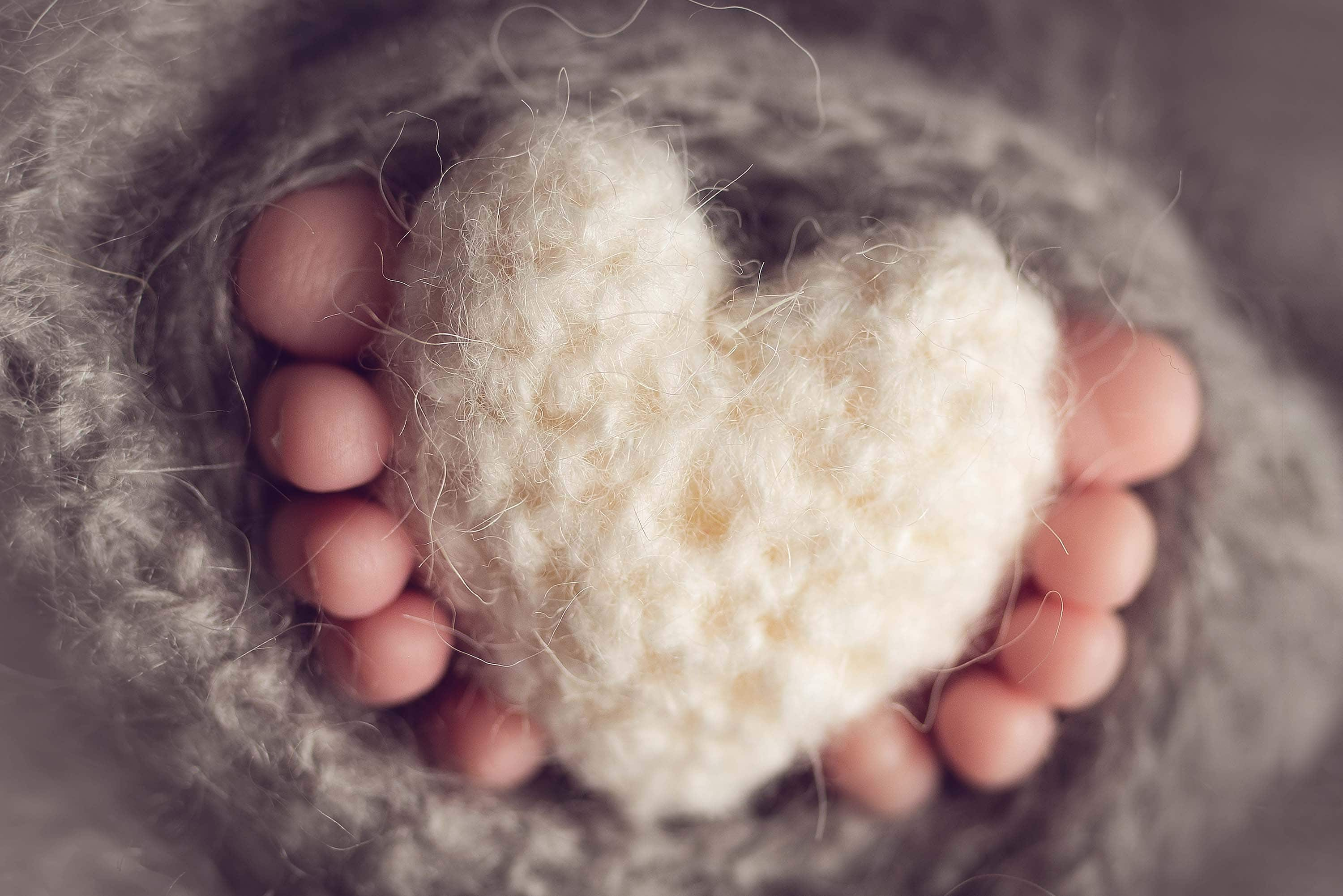 Ten baby toes surrounding a knitted heart