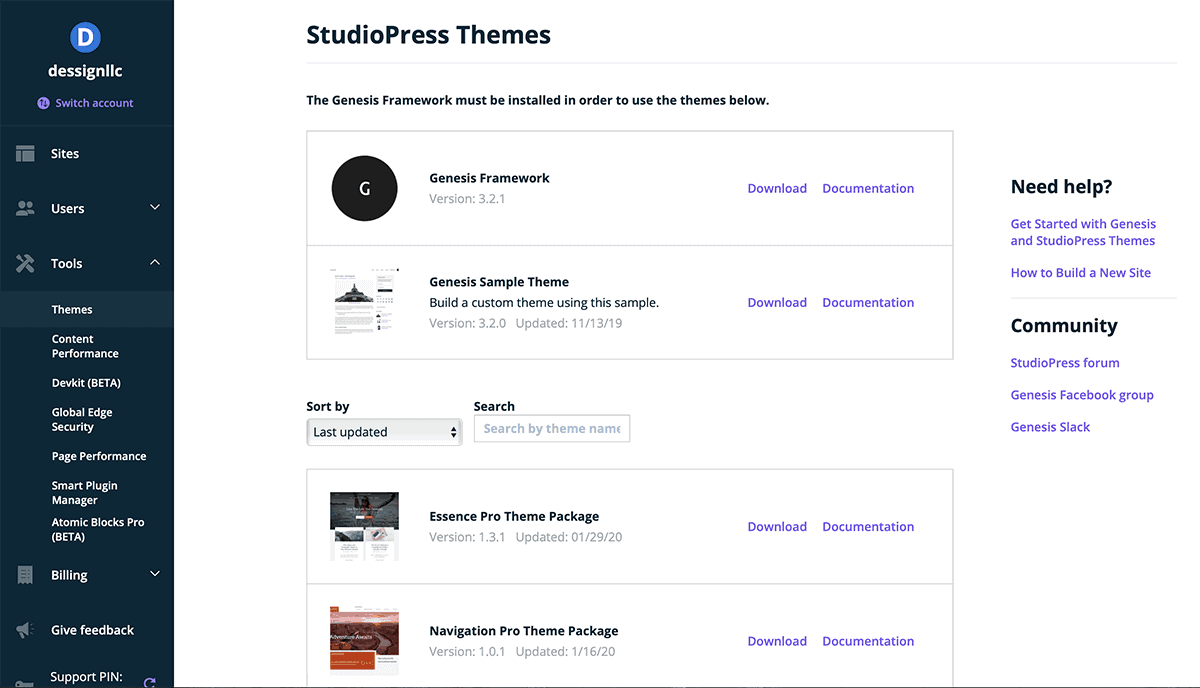 WP Engine Install Studio Press Themes Dashboard