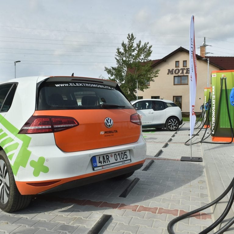 An illustration of the CEZ group EV charging network managed by Driivz