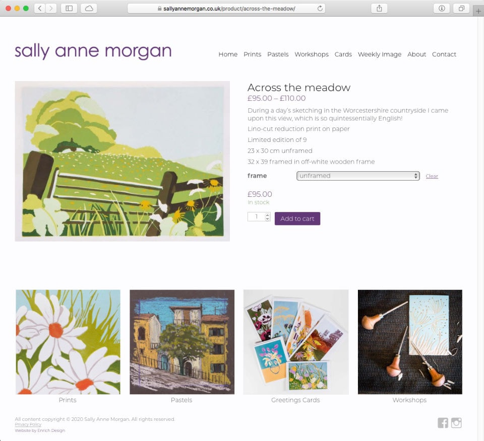 sallyannemorgan.co.uk e-commerce website by Richard Nicholls
