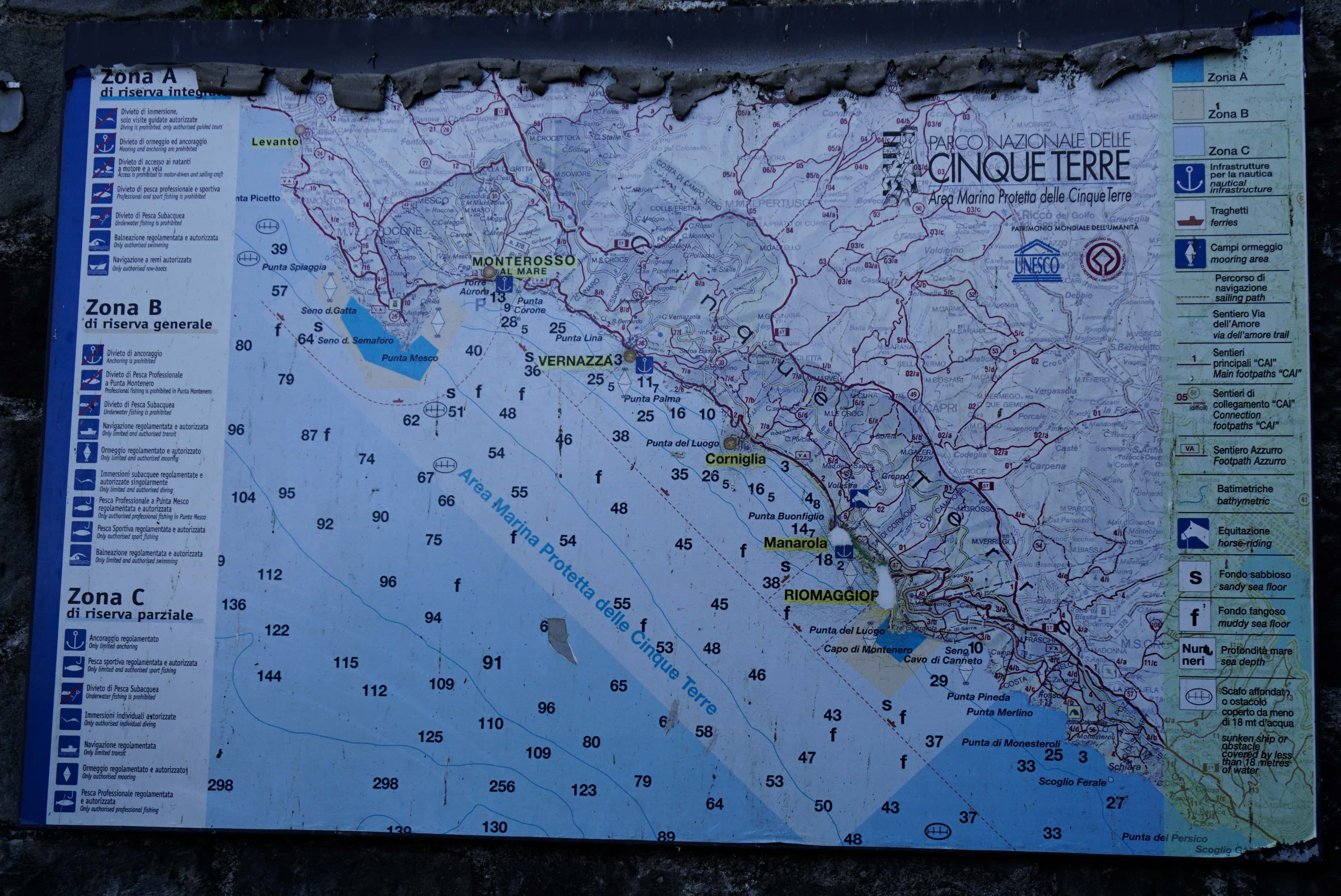 Cinque Terre Italy map