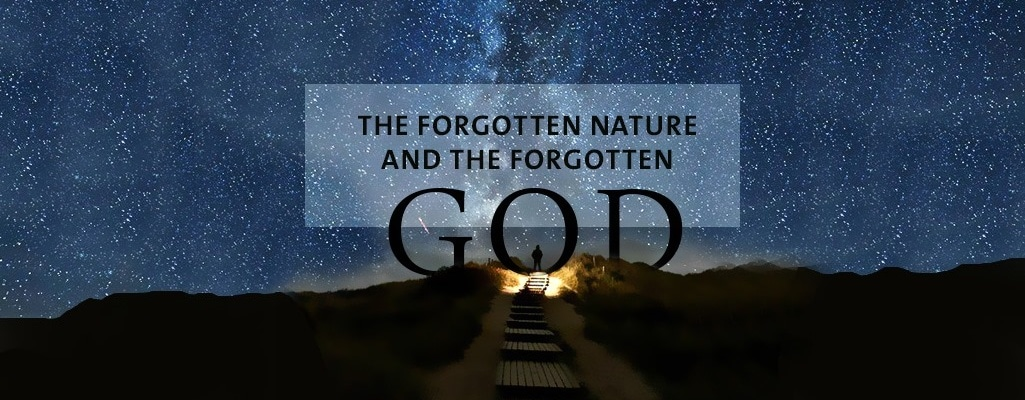 The forgotten nature and the forgotten God, text with sky bg